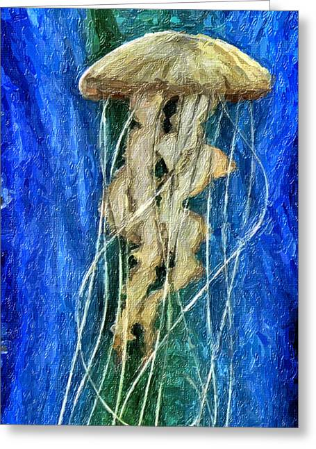 Jelly Fish Greeting Cards - Tangle Greeting Card by David Millenheft