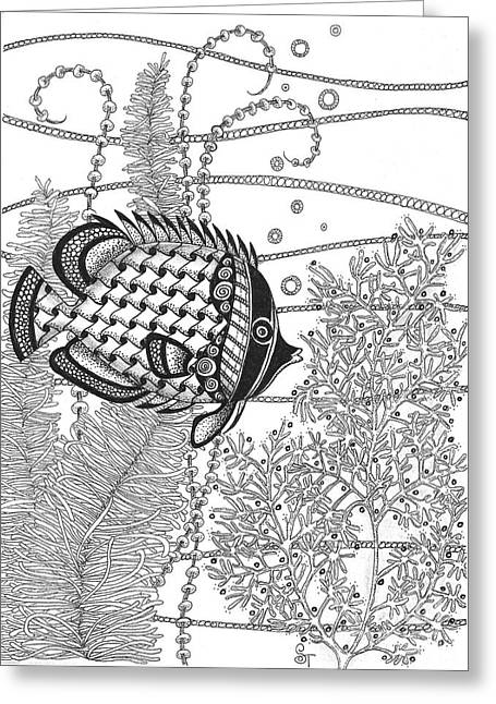 Ocean Images Drawings Greeting Cards - Tangle Fish II Greeting Card by Stephanie Troxell