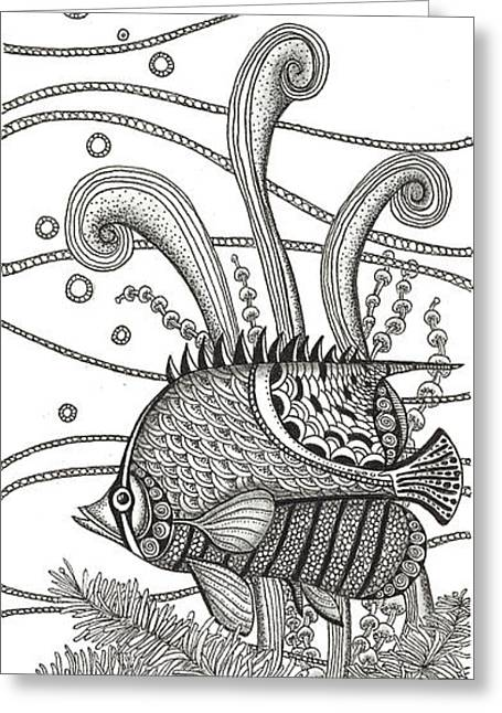 Tropical Beach Drawings Greeting Cards - Tangle Fish Greeting Card by Stephanie Troxell