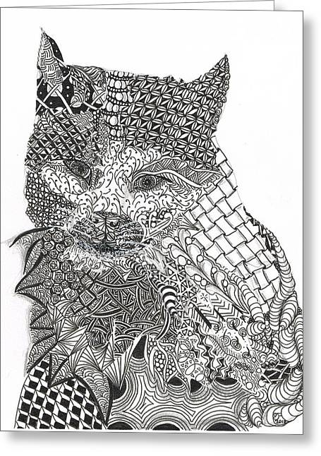 Tangled Cat Greeting Card by Dianne Ferrer