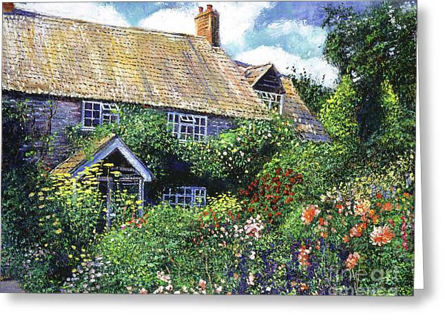 English Cottages Greeting Cards - Tangled English Garden Greeting Card by David Lloyd Glover