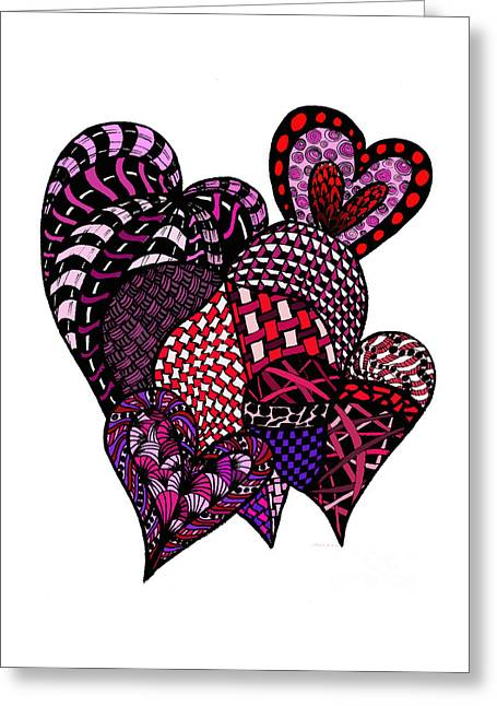 Pen And Ink Drawing Greeting Cards - Tangled Hearts Greeting Card by Nan Wright