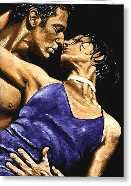 Couple Embracing Greeting Cards - Tango Heat Greeting Card by Richard Young