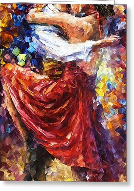 Modern Art Greeting Cards - Tango Of Movement - PALETTE KNIFE Oil Painting On Canvas By Leonid Afremov Greeting Card by Leonid Afremov