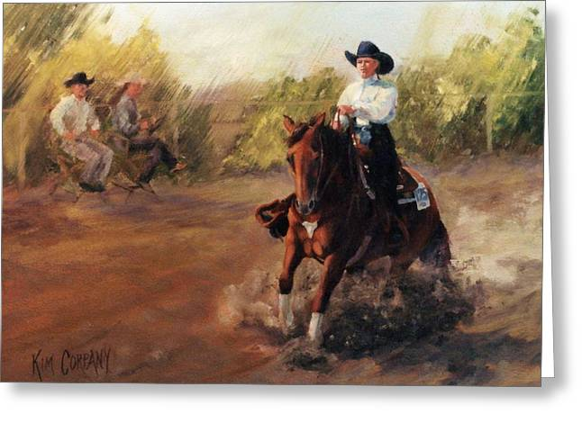 Quarter Horses Greeting Cards - Tango Reining Horse Slide Stop Portrait Painting Greeting Card by Kim Corpany