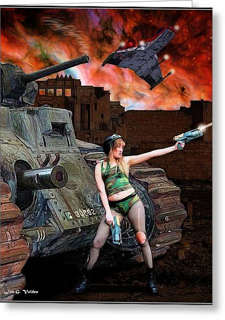 Tank Girl In Action Greeting Card by Jon Volden