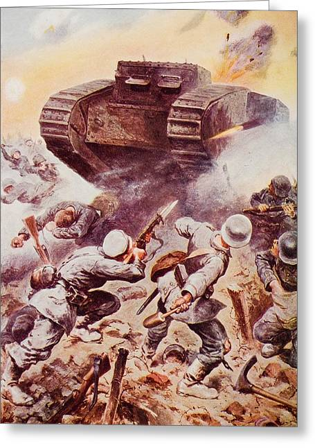 Bayonet Drawings Greeting Cards - Tanks In Action. By Stanley Wood, From Greeting Card by Ken Welsh
