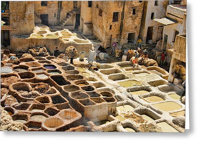 Vat Greeting Cards - Tanneries of Fes Morroco Greeting Card by David Smith