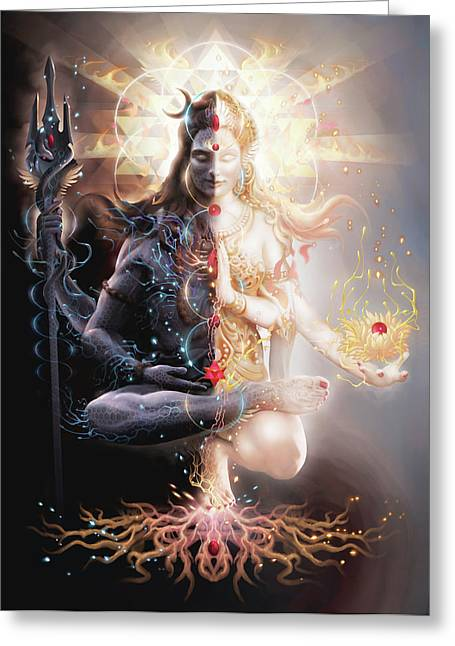 Goddess Greeting Cards - Tantric Marriage Greeting Card by George Atherton