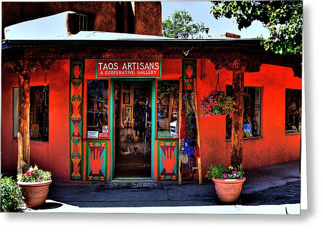 David Patterson Greeting Cards - Taos Artisans Gallery Greeting Card by David Patterson