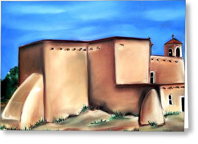 Taos Pastels Greeting Cards - Taos Church NM Greeting Card by Dolores Aragon
