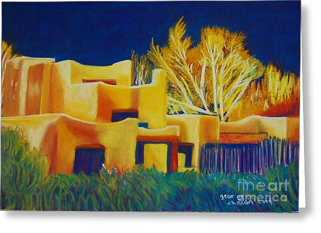 Taos Pastels Greeting Cards - Taos light late winter Greeting Card by George Chacon