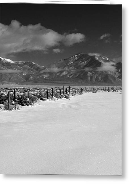 Cristo Greeting Cards - Taos Mountain Morning Greeting Card by Troy Montemayor