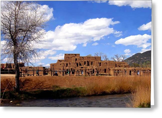 Taos Pueblo Early Spring Greeting Card by Kurt Van Wagner