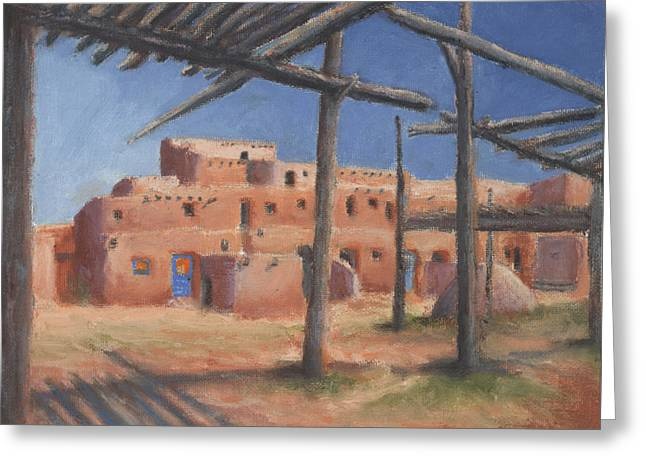 Taos Greeting Cards - Taos Pueblo Greeting Card by Jerry McElroy