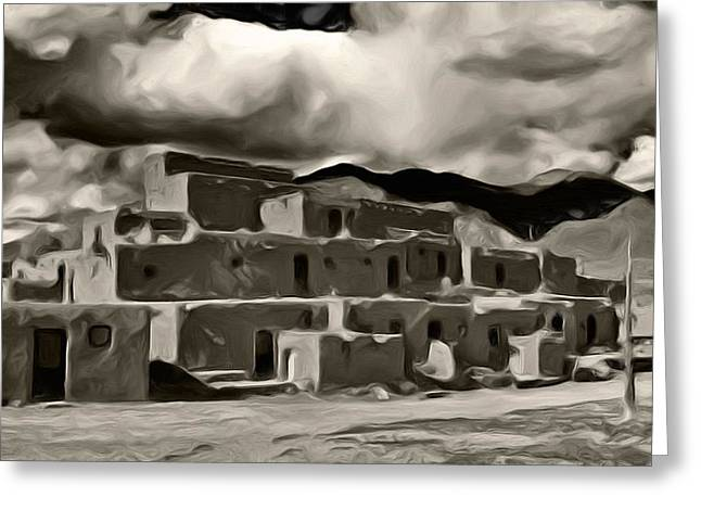 Historic Site Digital Greeting Cards - Taos Pueblo Greeting Card by Lou  Novick