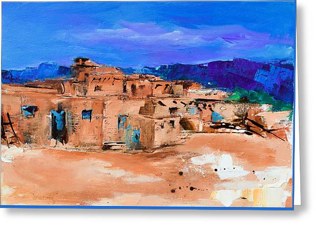 Unesco Greeting Cards - Taos Pueblo Village Greeting Card by Elise Palmigiani
