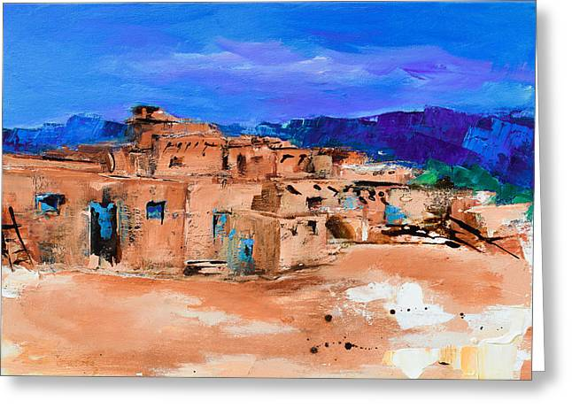 Four Greeting Cards - Taos Pueblo Village Greeting Card by Elise Palmigiani