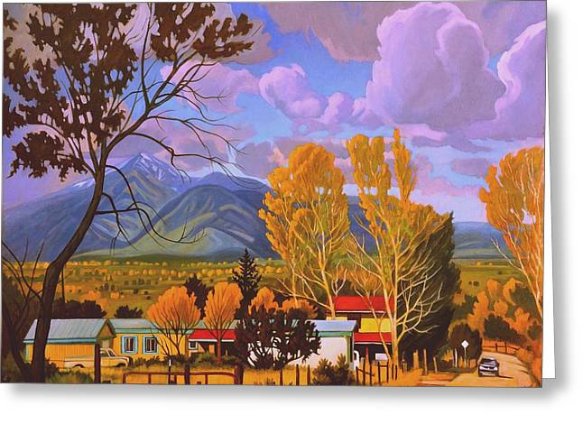 Taos Red Roofs Greeting Card by Art West