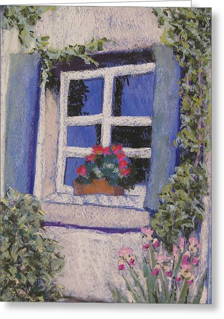 Taos Pastels Greeting Cards - Taos Window Greeting Card by Constance Gehring