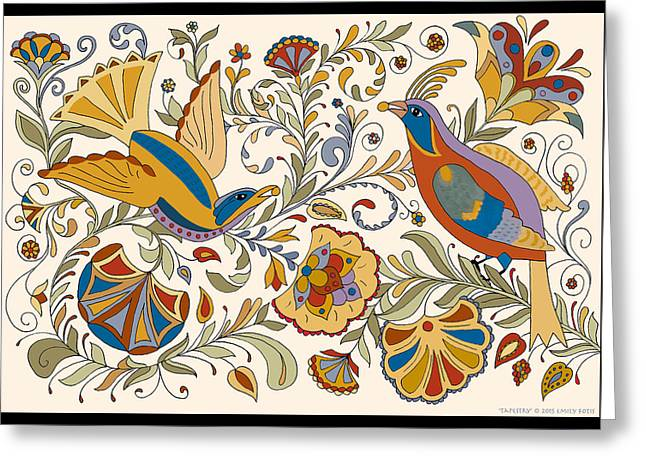 Berry Greeting Cards - Tapestry Greeting Card by Emily Fotis