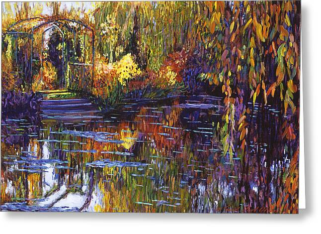 Gardenscapes Greeting Cards - Tapestry Reflections Greeting Card by David Lloyd Glover