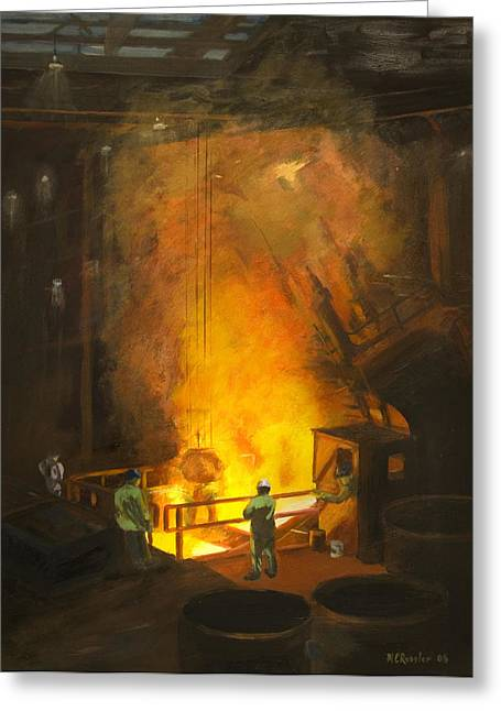 Factory Workers Greeting Cards - Tapping the First Heat Greeting Card by Martha Ressler