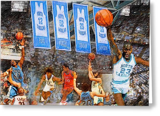 James Worthy Greeting Cards - Tar Heel Greats Greeting Card by John Farr