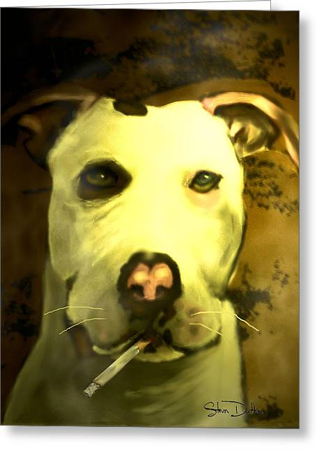 Framed Pit Bull Print Greeting Cards - Tar Pit Greeting Card by Stevn Dutton