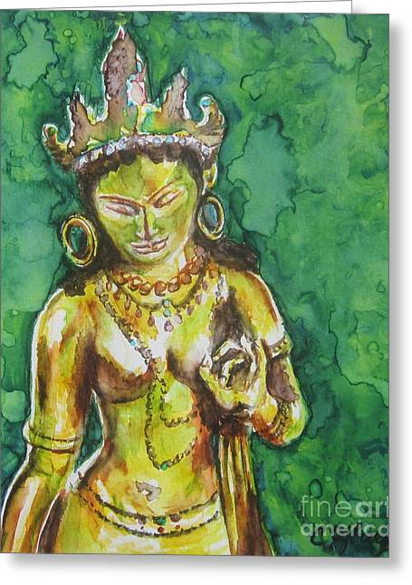 Recently Sold -  - Tibetan Buddhism Greeting Cards - Tara Compassion Greeting Card by Christine Kfoury