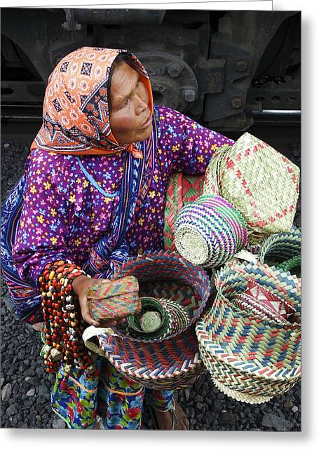 Madre Greeting Cards - Tarahumara Basket Vendor Greeting Card by Kurt Van Wagner