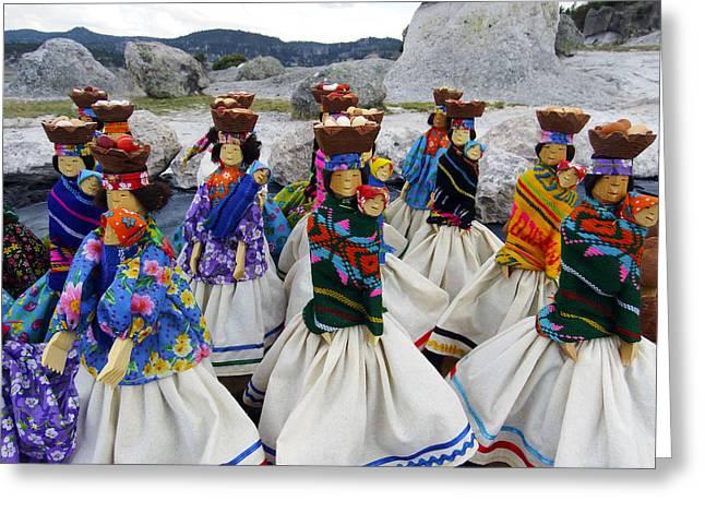 Chihuahua Colorful Art Greeting Cards - Tarahumara dolls dancing amongst the rocks Greeting Card by Kurt Van Wagner