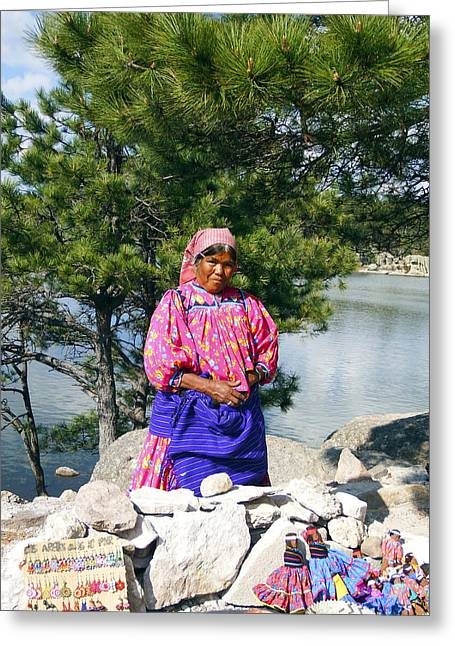 Madre Greeting Cards - Tarahumara Woman at Lake Arareko Greeting Card by Kurt Van Wagner