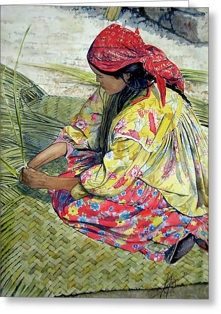 Watercolor! Drawings Greeting Cards - Tarahumara Woman Greeting Card by Jose Espinoza