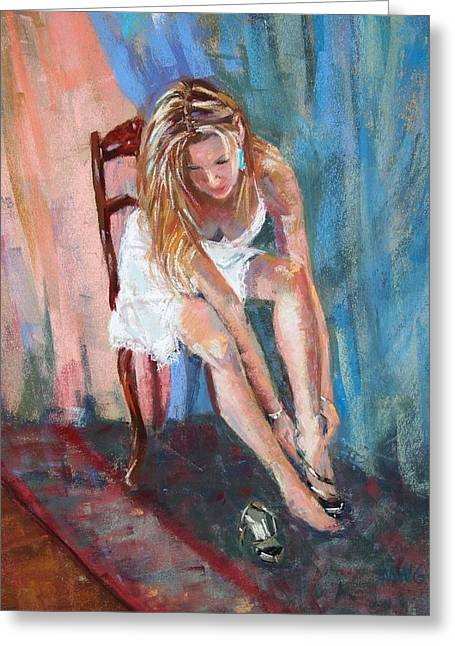 Slip Ins Greeting Cards - Taras Shoes Greeting Card by Michelle Wells Grant