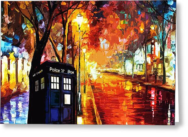 Police Cartoon Greeting Cards - Tardis Art Painting Greeting Card by Koko Priyanto