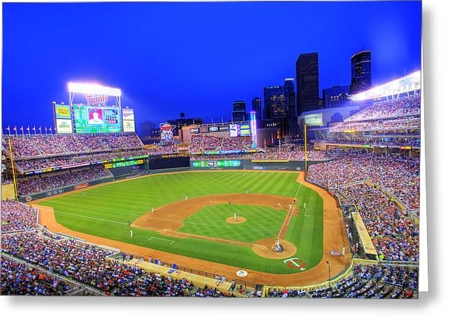 Twins Baseball Greeting Cards - Target Field at Night Greeting Card by Shawn Everhart