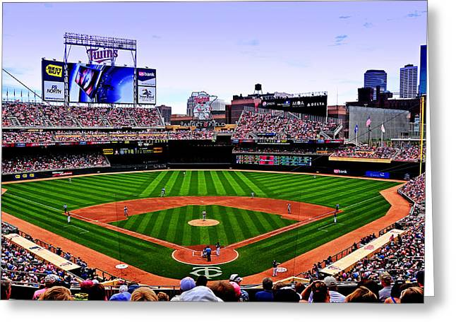 Twins Baseball Greeting Cards - Target Field Greeting Card by Lyle  Huisken