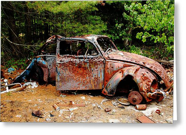 Rusted Cars Greeting Cards - Target Practice Greeting Card by Debbie Oppermann
