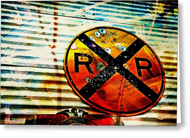 Railroad Crossing Greeting Cards - Target Practice Greeting Card by Toni Hopper