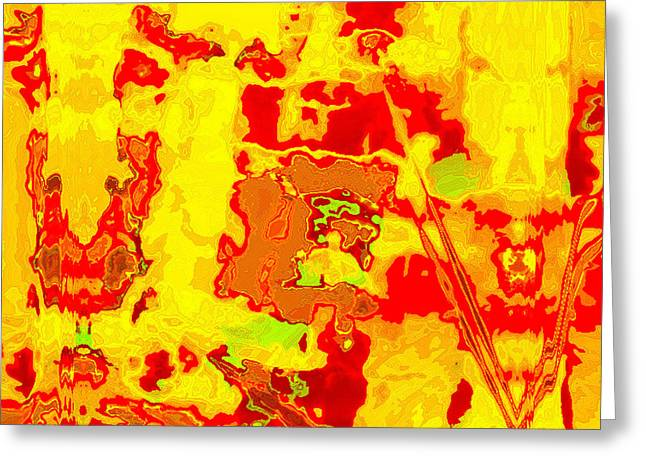 Contemporary Abstract Tapestries - Textiles Greeting Cards - Tarim Greeting Card by Laura Boyd
