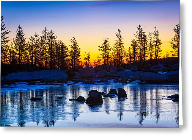 Deciduous Greeting Cards - Tarn Ice Greeting Card by Inge Johnsson