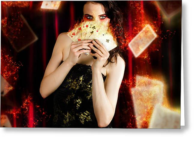 Tarot Magician Holding Magic Fire Cards Of Fate Greeting Card by Jorgo Photography - Wall Art Gallery