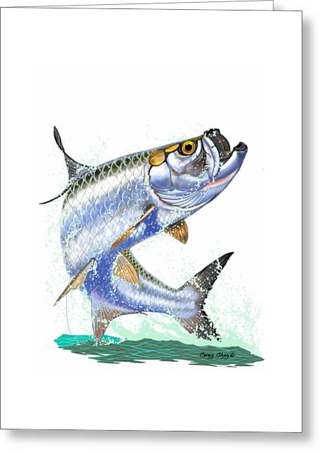 Tarpon Digital Greeting Card by Carey Chen