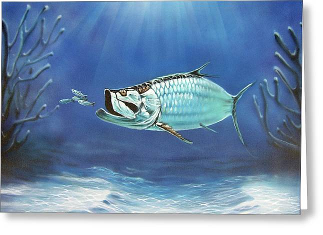 Airbrush Greeting Cards - Tarpon Greeting Card by Larry Cole