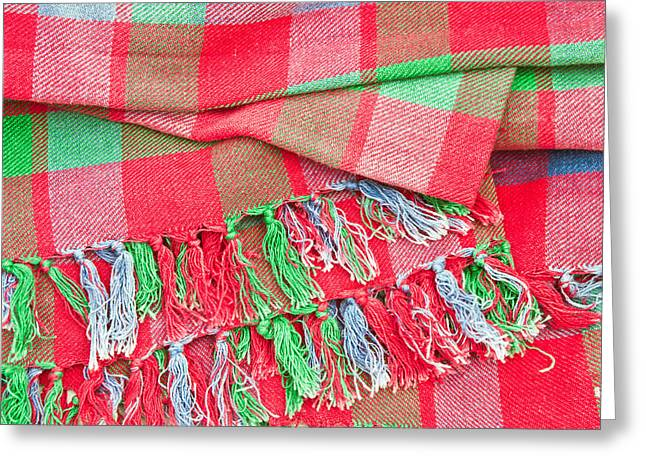 Tartan Blanket Greeting Card by Tom Gowanlock
