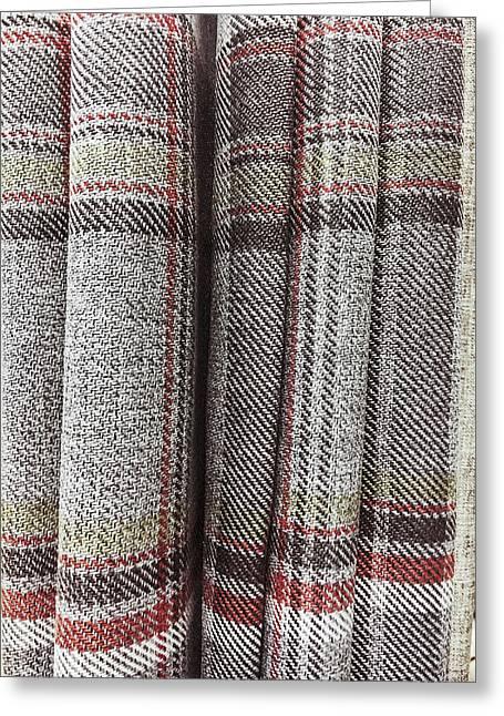 Tartan Curtain Pattern Greeting Card by Tom Gowanlock