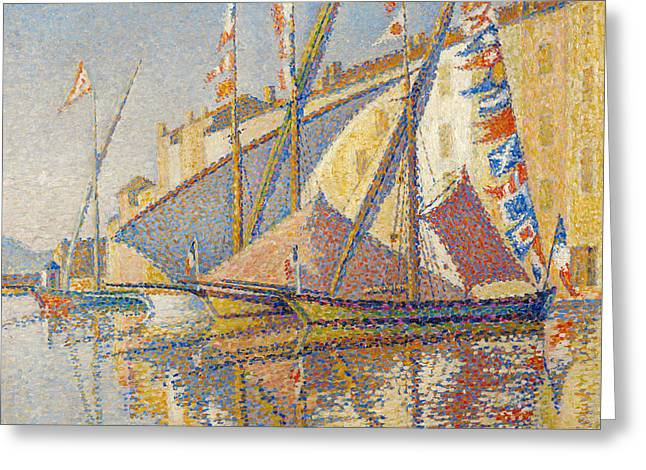 Tartans With Flags Greeting Card by Paul Signac