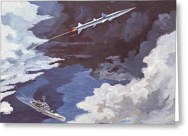 Naval History Greeting Cards - Tartar Surface To Air Missile Greeting Card by American School