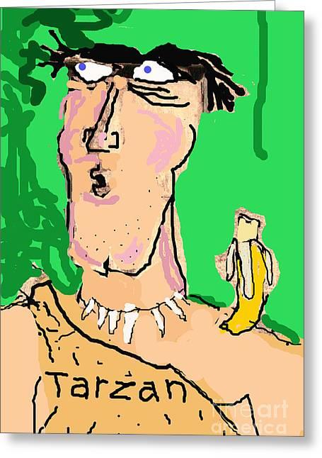 Humorous Greeting Cards Greeting Cards - Tarzan Sees Jane Greeting Card by Joe Jake Pratt